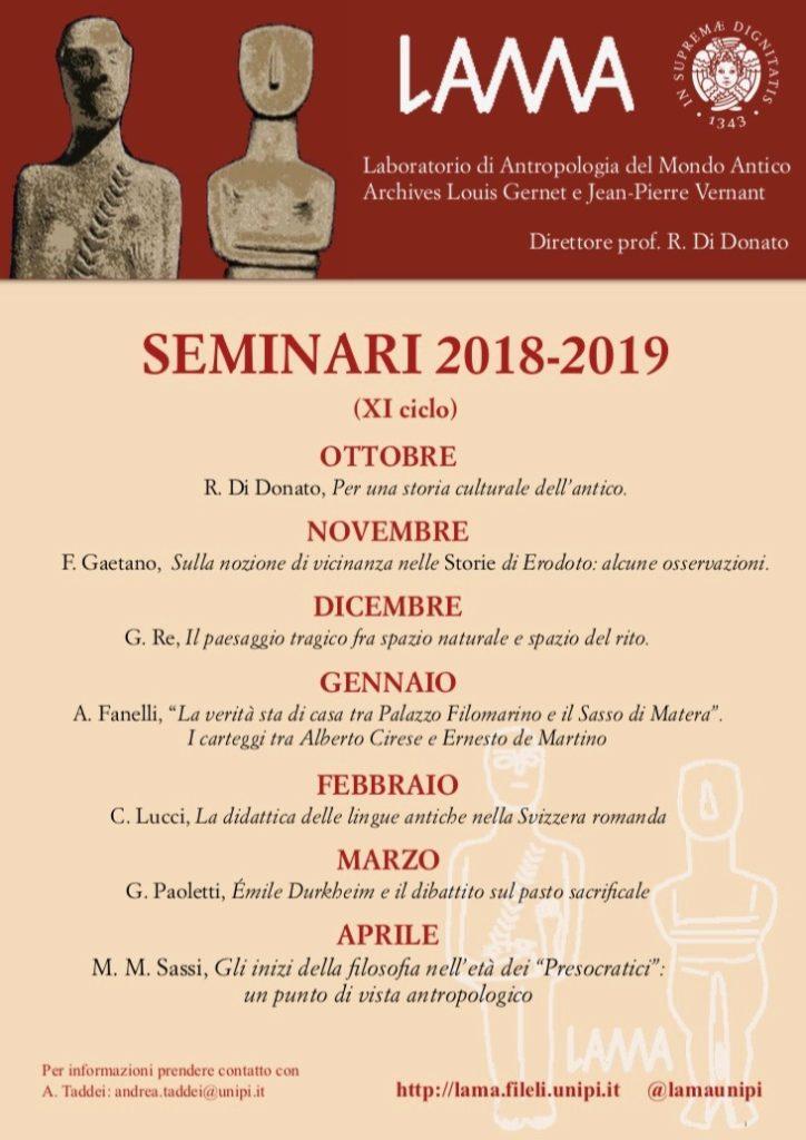 Calendario Seminari 2018-2019